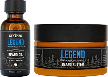 Live Bearded: Beard Oil and Beard Butter Grooming Kit - Legend - All-Natural Ingredients with Shea Butter, Argan Oil, Jojoba Oil and More - Beard Growth Support - Made in the USA