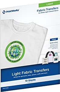 "Printworks White T-Shirt Transfers for Inkjet Printers, For Use on White Fabrics Only, Photo Quality Prints, 10 Sheets, 8 ½"" x 11"" (00480)"