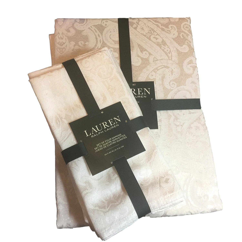 Lauren Ralph Lauren Paisley White (Shimmering Bright White) Tablecloth 70 x 84 Oblong + Set 4 Napkins Bundle