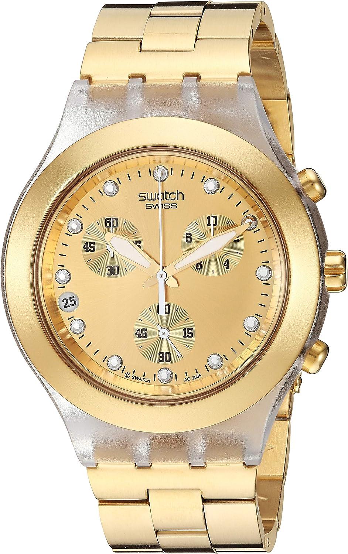 Swatch Core Collection Full-Blooded SVCK4032G - Reloj Unisex de Cuarzo, Correa de Acero Inoxidable Color Oro (con cronómetro)