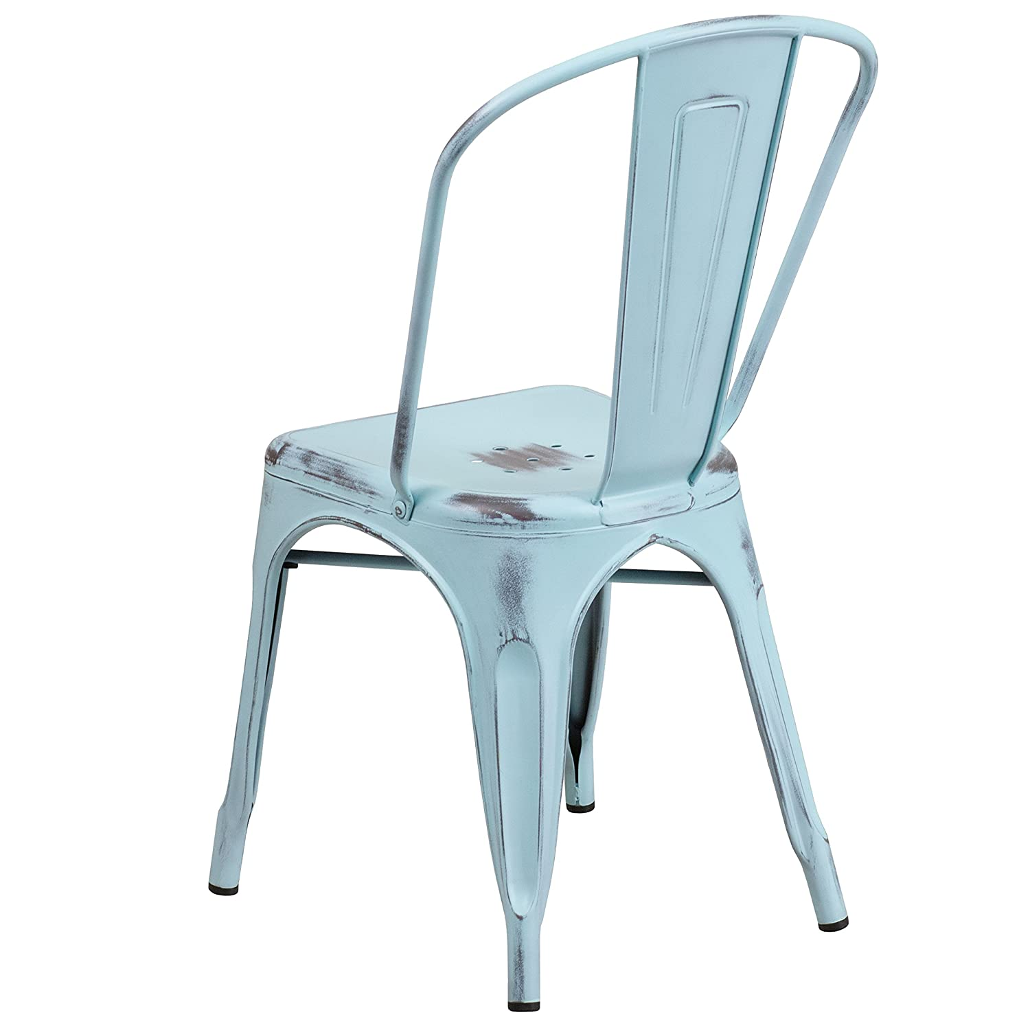 Amazon.com: Flash Furniture Distressed Green-Blue Metal Indoor ...