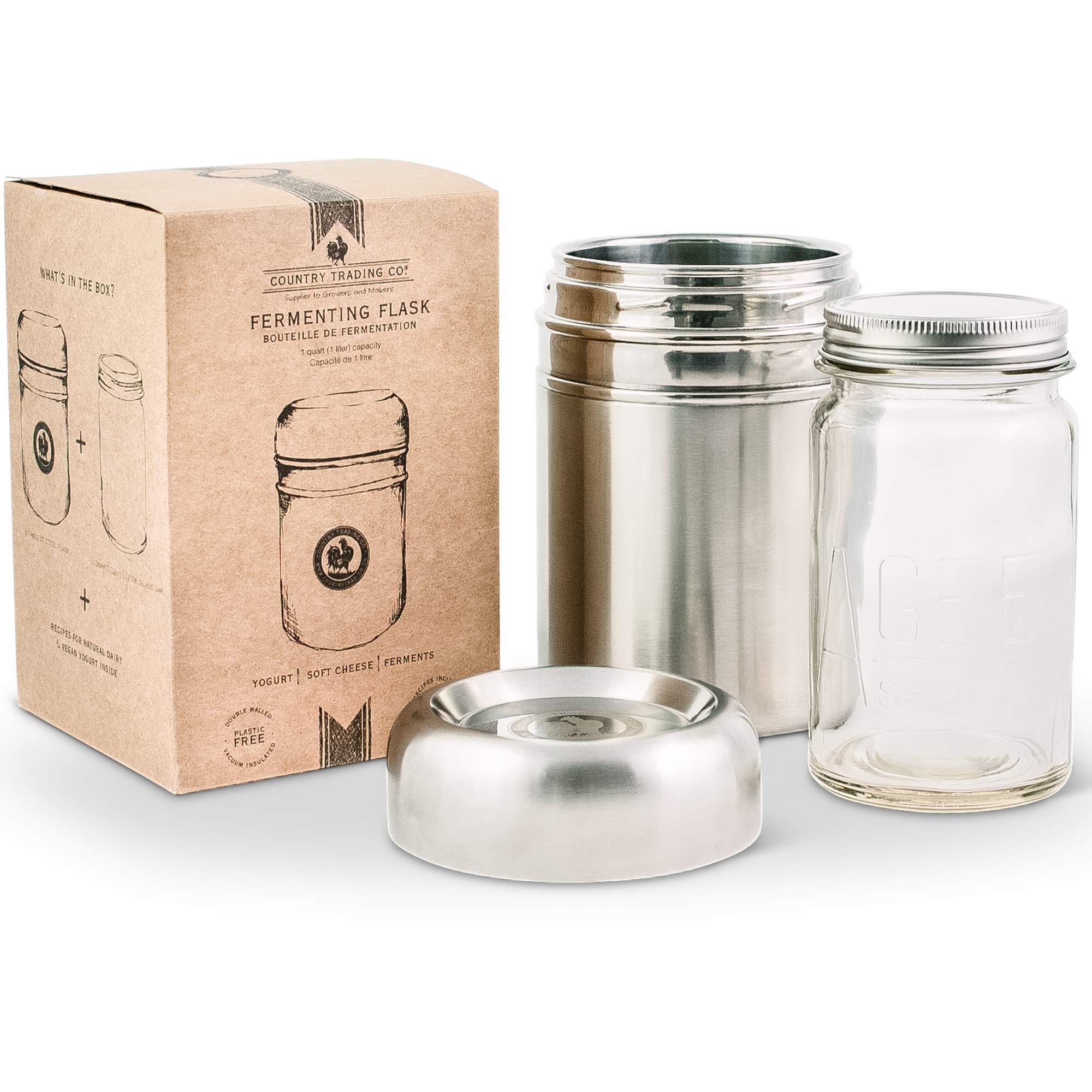Stainless Steel Yogurt Maker with 1 Quart Glass Jar