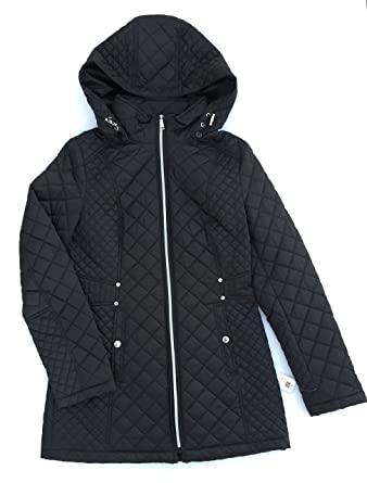 Laundry By Design Womens Quilted Jacket With Detachable Hood Black
