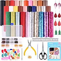 TUPARKA 30 Pcs Faux Leather Fabric Sheet 6 Kinds of Leather Fabric for Earring Making Crafts with Hole Puncher, 210 Set…