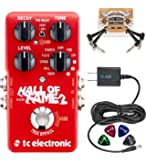 TC Electronic Hall of Fame 2 Reverb Pedal with TonePrint Bundle with Blucoil Power Supply Slim AC/DC Adapter for 9 Volt DC 670mA, 2-Pack of Pedal Patch Cables, and 4-Pack of Celluloid Guitar Picks