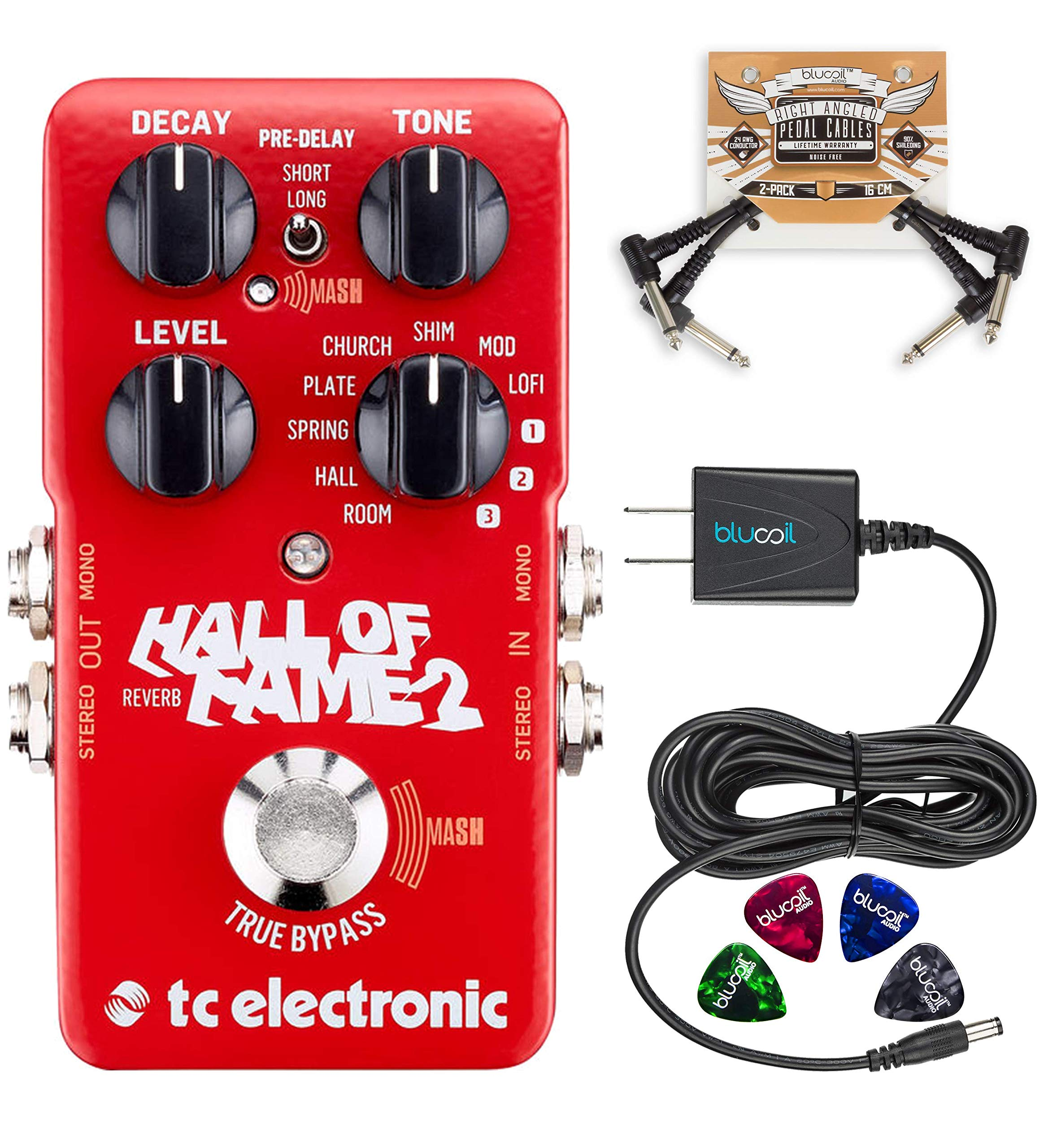 TC Electronic Hall of Fame 2 Reverb Pedal with TonePrint Bundle with Blucoil Power Supply Slim AC/DC Adapter for 9 Volt DC 670mA, 2-Pack of Pedal Patch Cables and 4-Pack of Celluloid Guitar Picks by blucoil