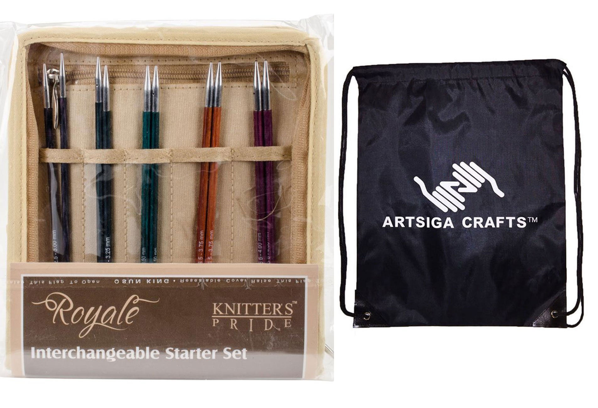 Knitter's Pride Knitting Needles Royale Interchangeable Starter Set Bundle with 1 Artsiga Crafts Project Bag 220353