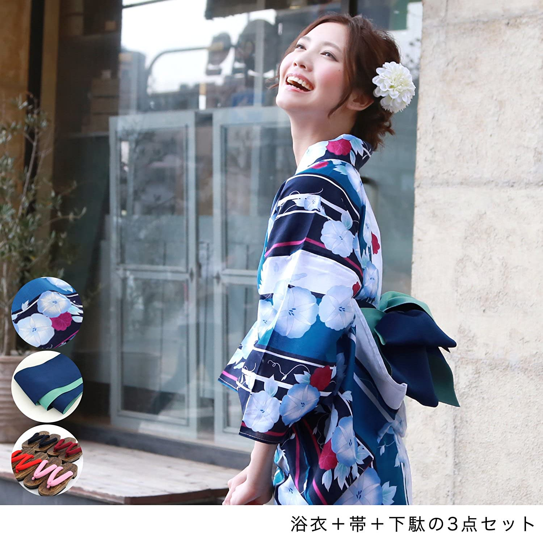 Japanese Girl Traditional YUKATA KIMONO Obi Sandal 2pcs JAPAN 14 Morning Glory