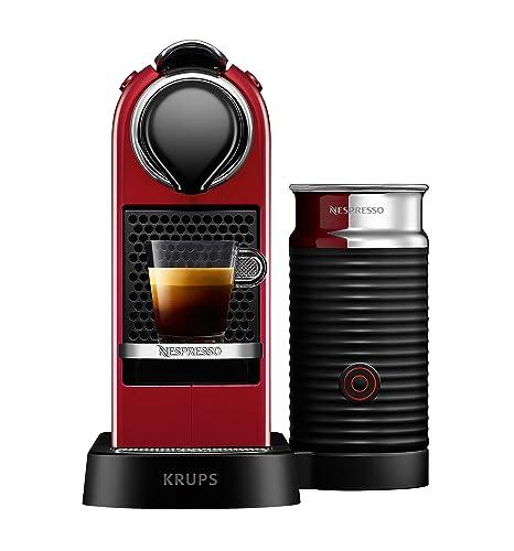 Nespresso Krups Citiz XN7615 - Cafetera monodosis de cápsulas Nespresso, compacta, 19 bares, apagado automático, color granate