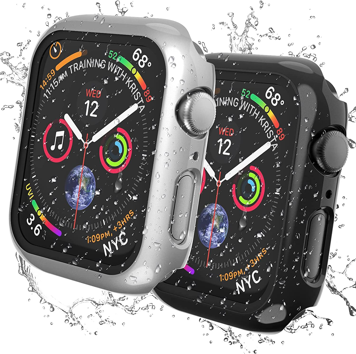 [2 Pack] AISIBY IPX7 Waterproof Case Compatible for Apple Watch Series 3/2/1 38mm with Screen Protector Accessories Guard Thin Bumper Full Coverage for iWatch Women Men (Black/Silver)