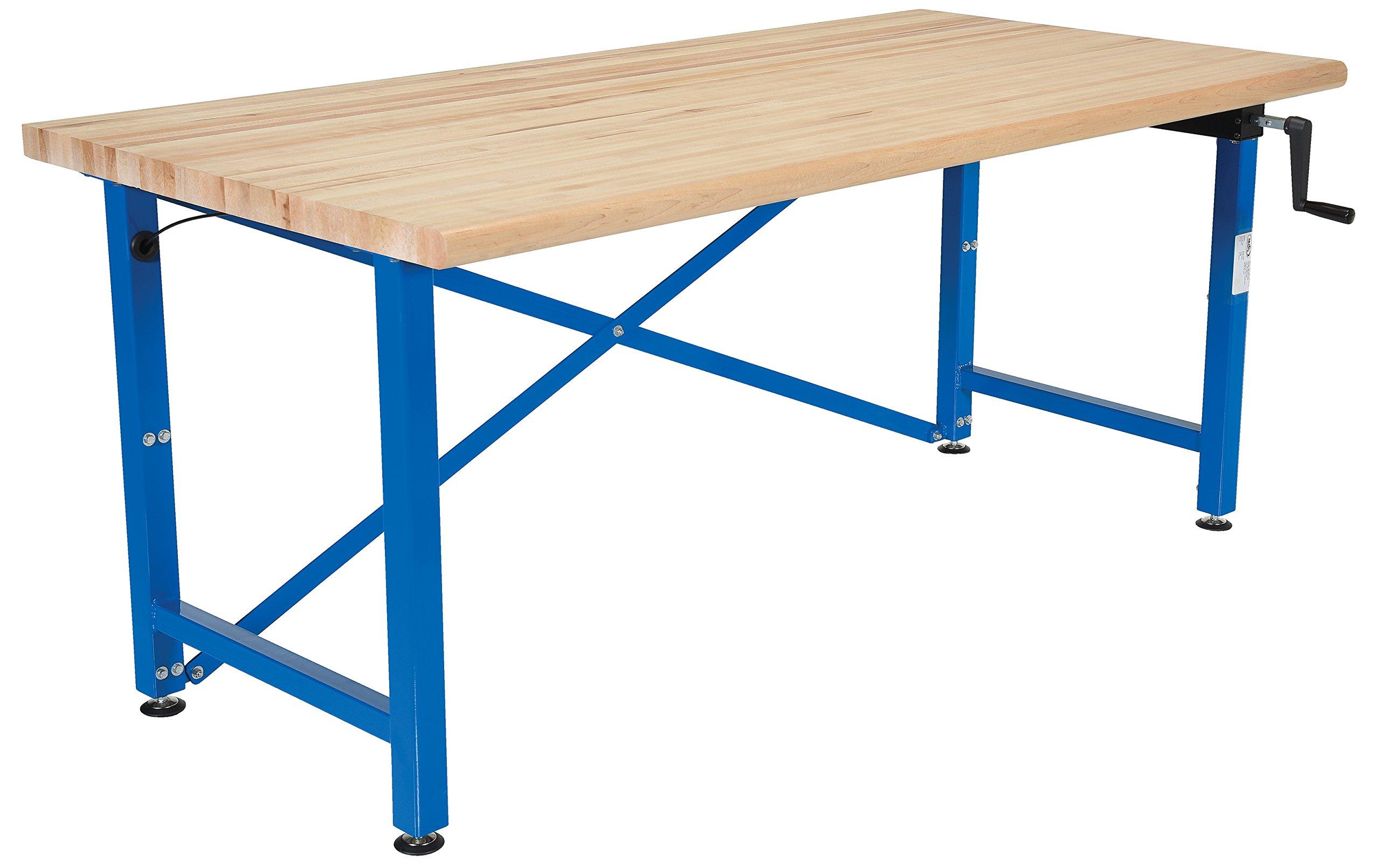 Vestil EWB-7236 Manually Adjustable Ergonomic Work Bench, 72'' x 36'', Blue/Tan