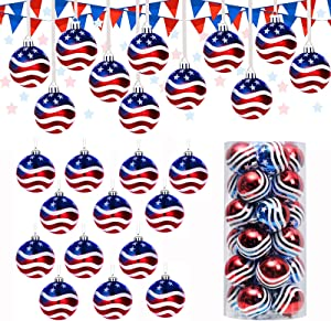24Pcs Hanging Ball Christmas Ball Ornaments July of 4th Ball Hanging Independence Day Party Decor Christmas Ornaments Patriotic Ball Ornaments Holiday Wedding Tree Decorations(24Pcs Balls)