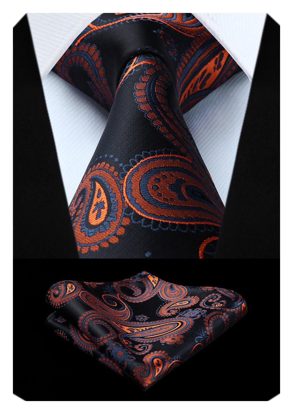 5c499329b362 HISDERN Paisley Floral Tie Handkerchief Wedding Party Woven Classic Men's  Necktie & Pocket Square Set Black