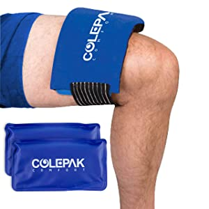 "ColePak Comfort Ice Packs for Injuries 2 Gel Packs w/Ice Wrap - Reusable Hot & Cold Gel Packs - Perfect to Wrap Around Knee, Back, Shoulder (10""x 5.25"")"