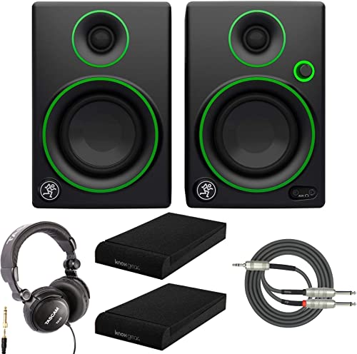 Mackie CR4 4 Multimedia Monitor with Studio Headphones, Knox Gear Isolation Pads and Breakout Cable