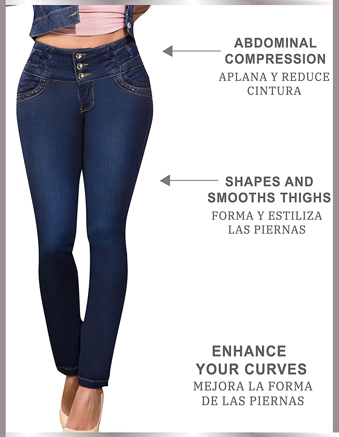 Aranza Pantalones Colombianos Levanta Cola Butt Lifting Colombian Jeans Mid Rise at Amazon Womens Jeans store