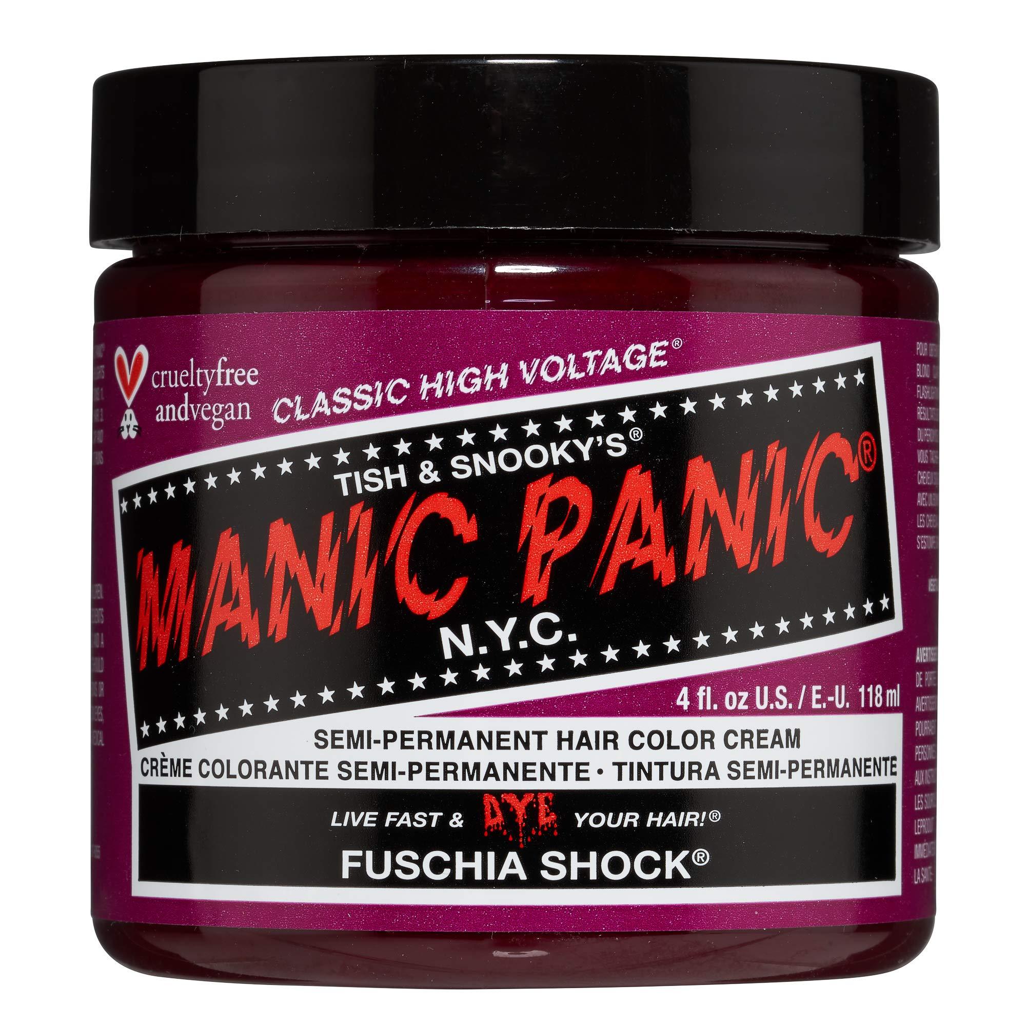 Manic Panic Fuschia Shock Hair Dye Classic                Manic Panic Voodoo Blue Hair Dye Classic                Manic Panic Flash Lightning Hair Bleach Kit 30 Vol                Manic Panic Hot Hot Pink Hair Color - Amplified                Manic Panic Psychedelic Sunset Orange Hair Dye
