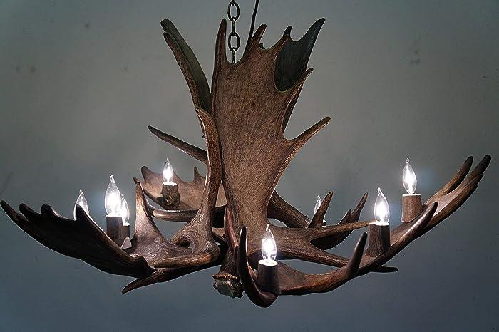 Amazon com: Real Natural Shed, Moose Antler Chandelier, 9