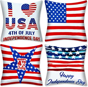 "AMENON 4PACK Americans Flag Pillow Covers 4Th July Decorations 18""x18"" Patriotic Decorative Pillow Covers Cases Cushion for Sofa Couch Bedroom Independence Day Decor for Home Indoor Outdoor"