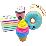 Jumbo Slow Rising Squishie Pack of 4 pcs Prime | Large Soft Cream Scented Kawaii Squishy Toys UK | Donut + Ice Cream + Rainbow Cake + Frappuccino Coffee | Stress Relief Squeeze Gift Set for Kids Adults by SK