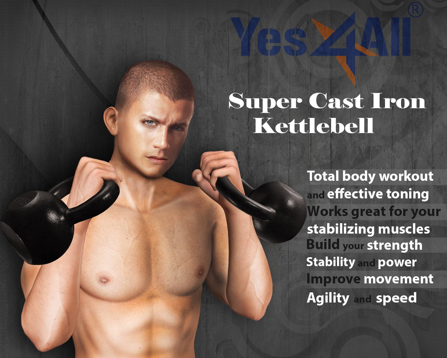 Yes4All Solid Cast Iron Kettlebell 5, 10, 15, 20, 25, 30, 35, 40, 45, 50, 55, 60 lb, Classic Black, 15 lb