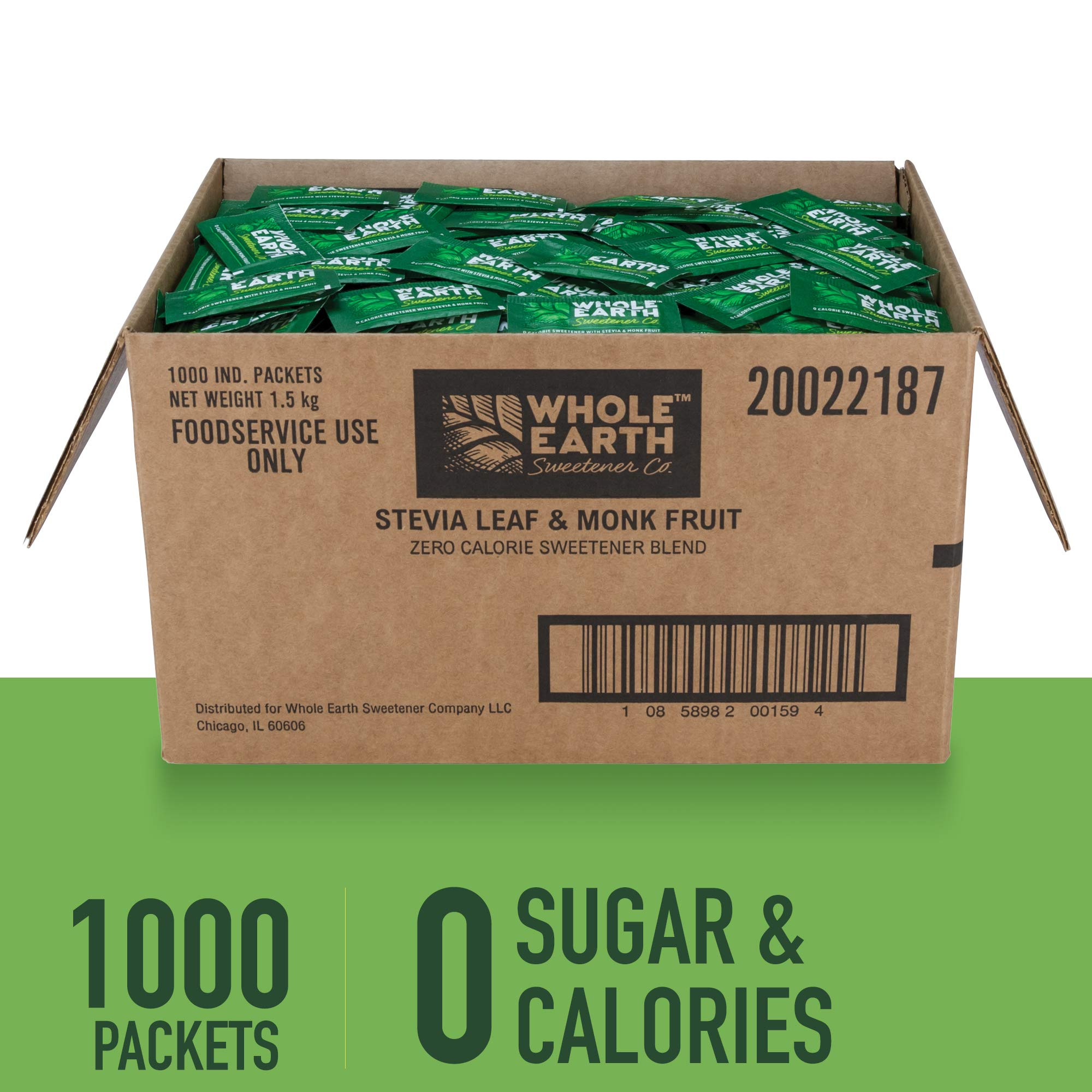 WHOLE EARTH SWEETENER Stevia and Monk Fruit Sweetener, Erythritol Sweetener, Sugar Substitute, Zero Calorie Sweetener, 1,000 Stevia Packets by Whole Earth Sweetener Company (Image #1)