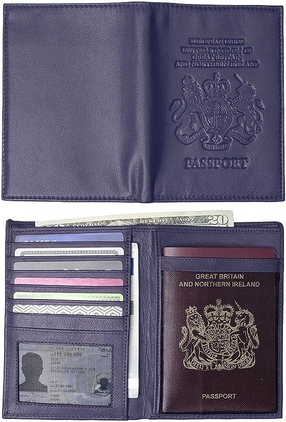 Billetera de piel para pasaporte, funda y tarjetero con el escudo de armas del Reino Unido azul azul marino talla única: Amazon.es: Equipaje