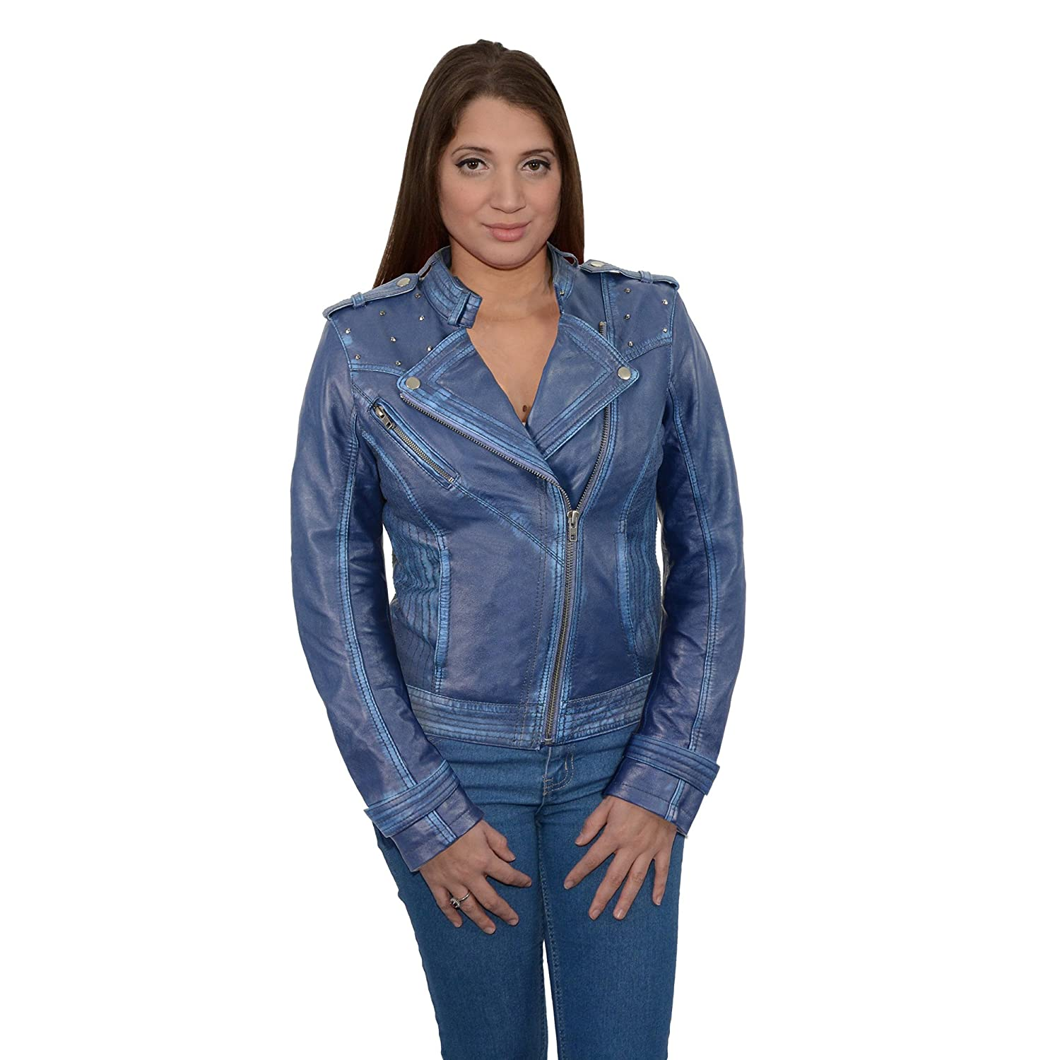 Milwaukee Leather Women's Sheepskin Asymmetrical Moto Jacket With Studding (Pink, Small), 1 Pack SFL2840-PNK-S