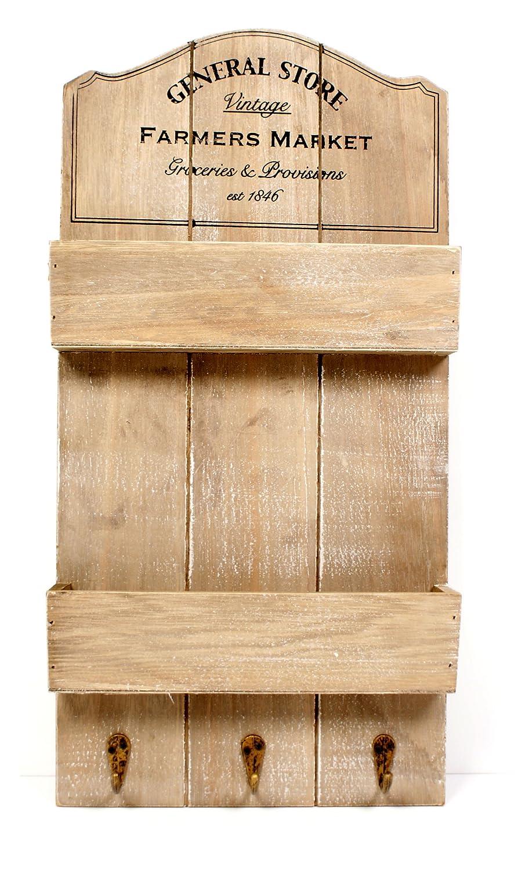 new shabby chic rustic vintage general store shelf wall unit hooks keys ebay. Black Bedroom Furniture Sets. Home Design Ideas