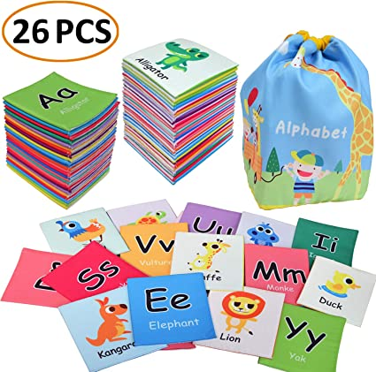 MAMMA Kiddie Animal ABC Soft Activity Cloth Cards Set, Kids Alphabet Letters Learning Cards with Letters Words Cute Animal Pictures, Early Educational ...