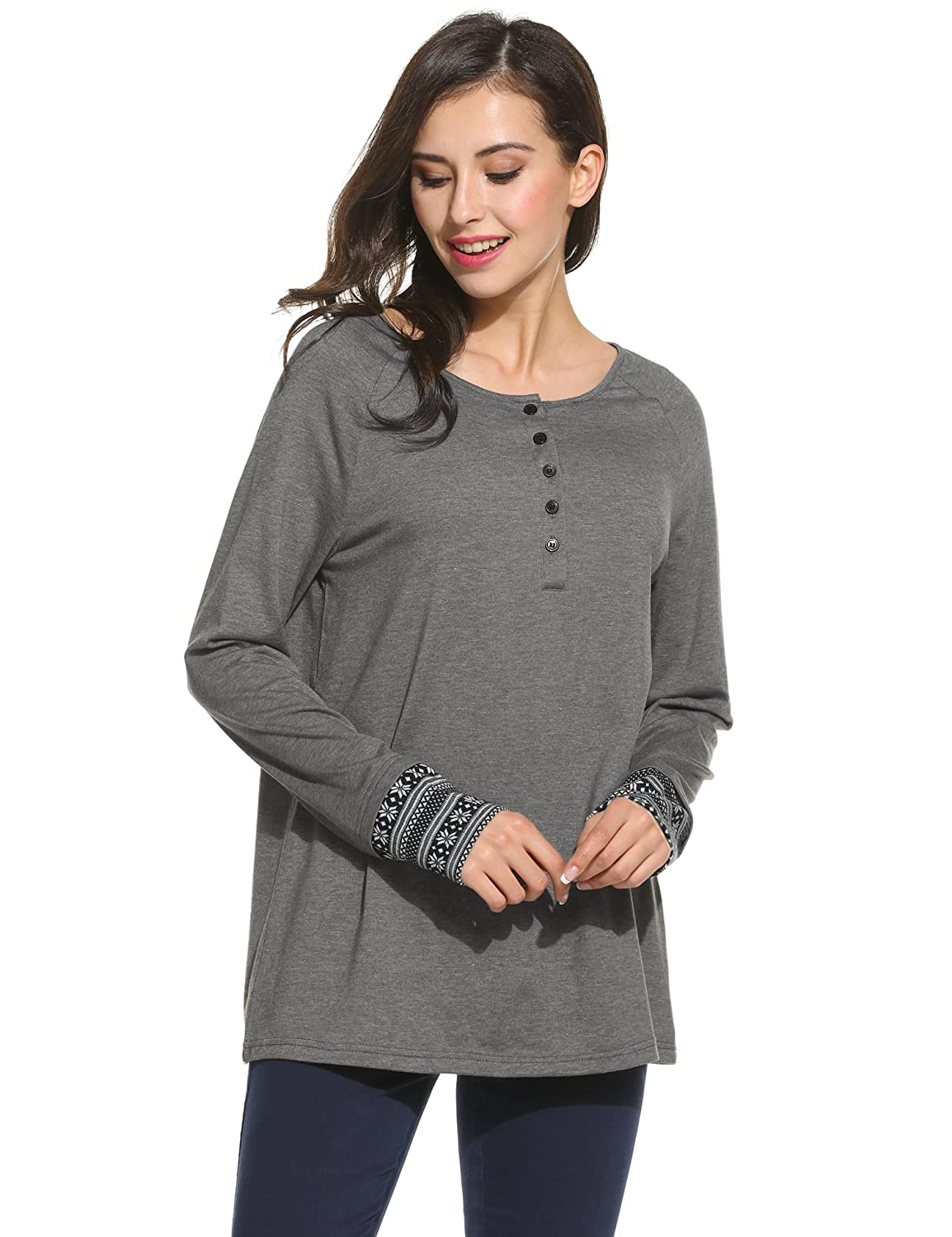 Meaneor Womens Round Neck Long Sleeve Blouse Geometric Print Loose T-Shirt Top