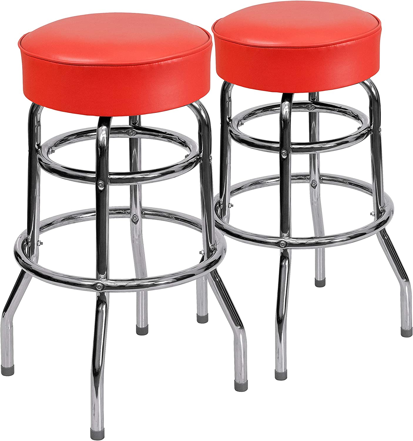 Flash Furniture 2 Pack Double Ring Chrome Barstool with Red Seat