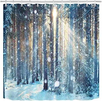Lb Winter Shower Curtain Set Jungle Forest Wood Tree In Snow Bathroom Curtain With Hooks 72x72 Inch Waterproof Polyester Fabric Bathtub Curtain Kitchen Dining Amazon Com