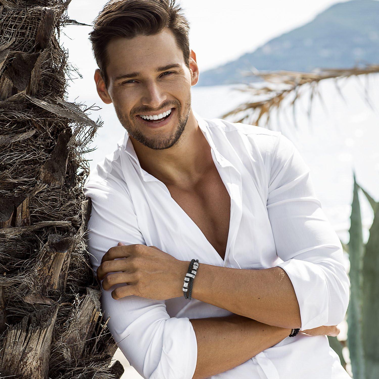 Bracelet pour homme Bijoux pour homme Bracelet /à aimant noir magn/étique TED COLLINS Bracelet en cuir tress/é pour homme en acier inoxydable
