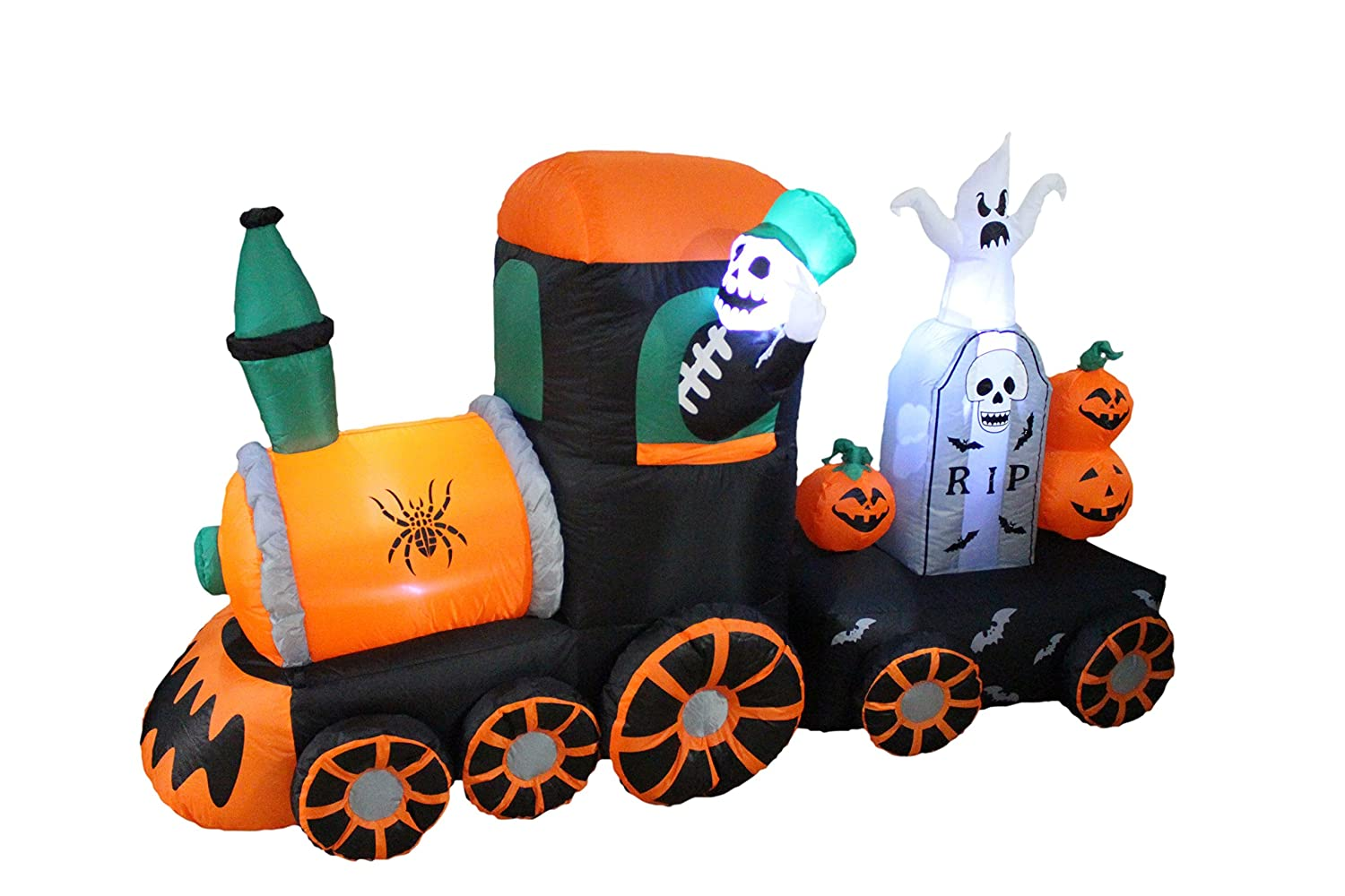 Outdoor inflatable halloween decorations - Amazon Com 7 Foot Long Halloween Inflatable Skeleton On Train 2013 Yard Decoration Home Kitchen