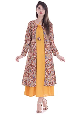 Mystique India Jacket style Pocket detail Women s Yellow Kalamkari Print  Cotton Kurta 6b0bc4fcc