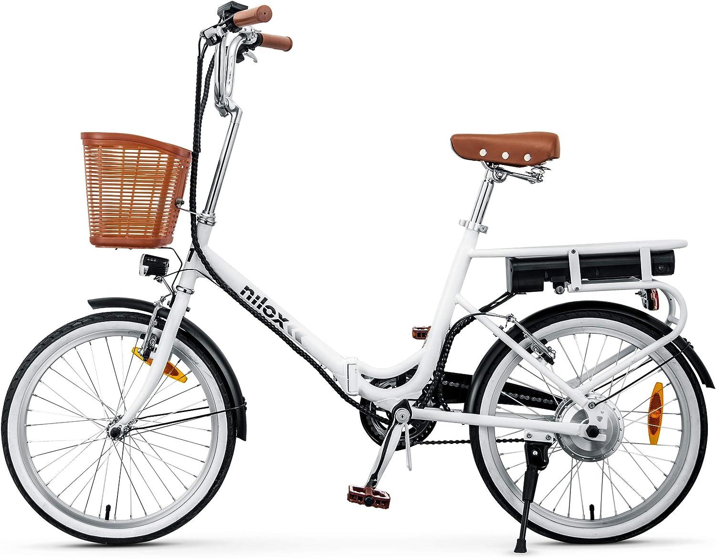 Nilox 30NXEB140V003V2 - Bicicleta eléctrica E Bike 36V 6AH 20X1.75P - J1, Motor 36 V 250 W, batería Recargable de Litio 36 V 6 Ah, Carga Completa 3 h, chasis Acero, Velocidad