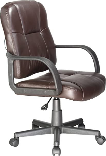 Superbe Comfort Products Leather Task Chair With Stress Reducing Massage, Brown