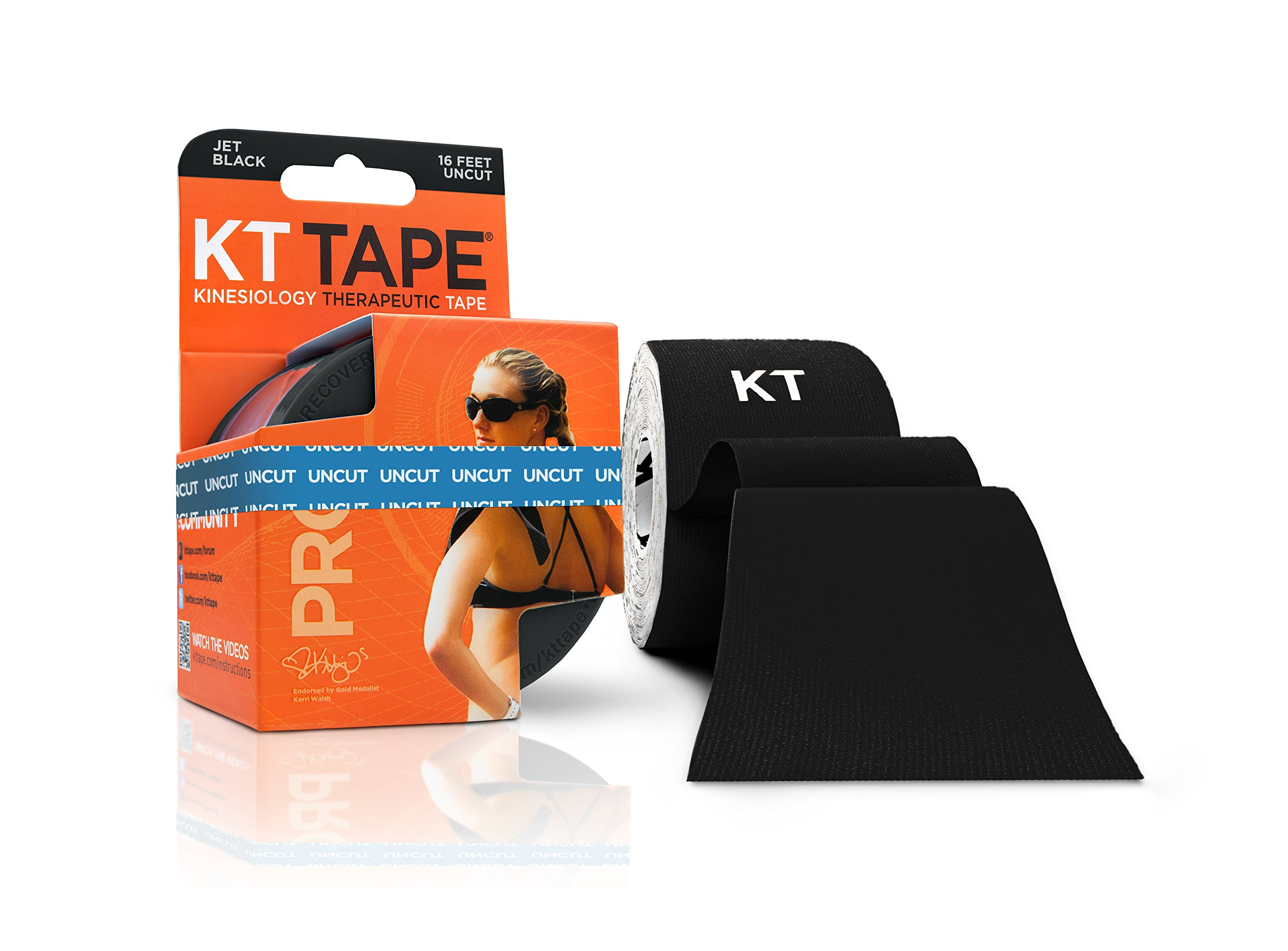 KT Tape PRO Synthetic Elastic Kinesiology Therapeutic Tape, 16.6 Foot Uncut Roll, Black