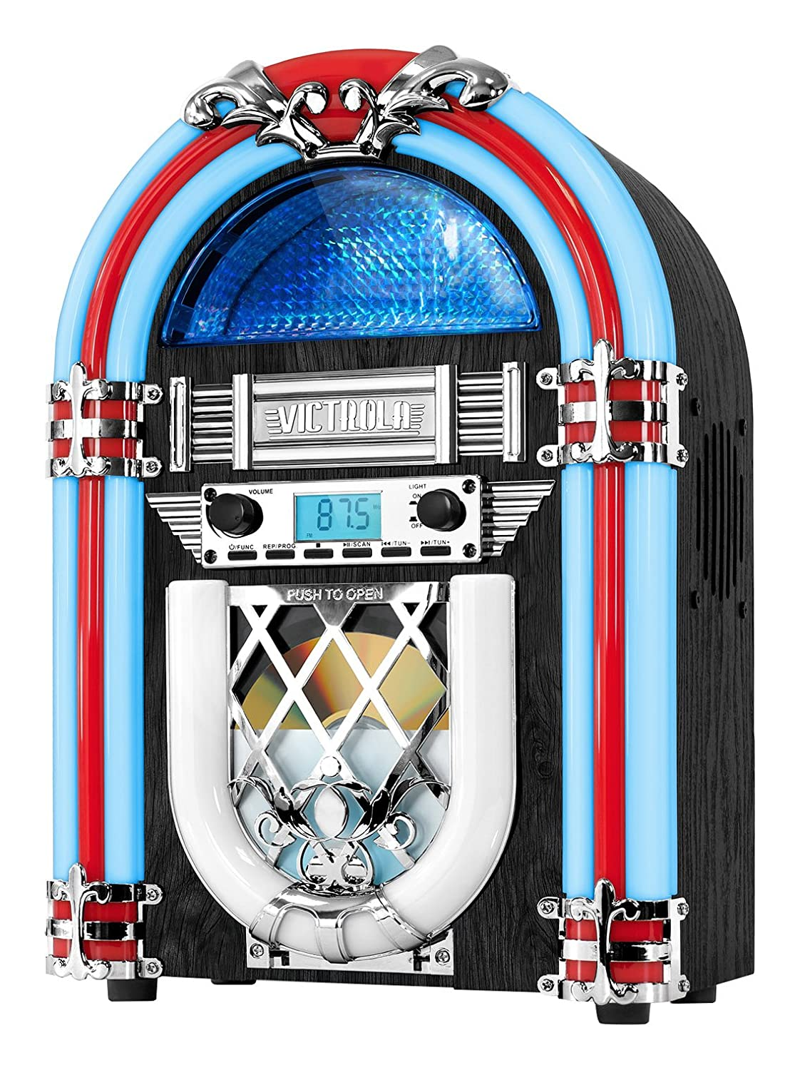 Innovative Technology Desktop Jukebox CD Player, FM Radio, Bluetooth Color Changing LED Lights, 15' Tall 15 Tall VJB-125