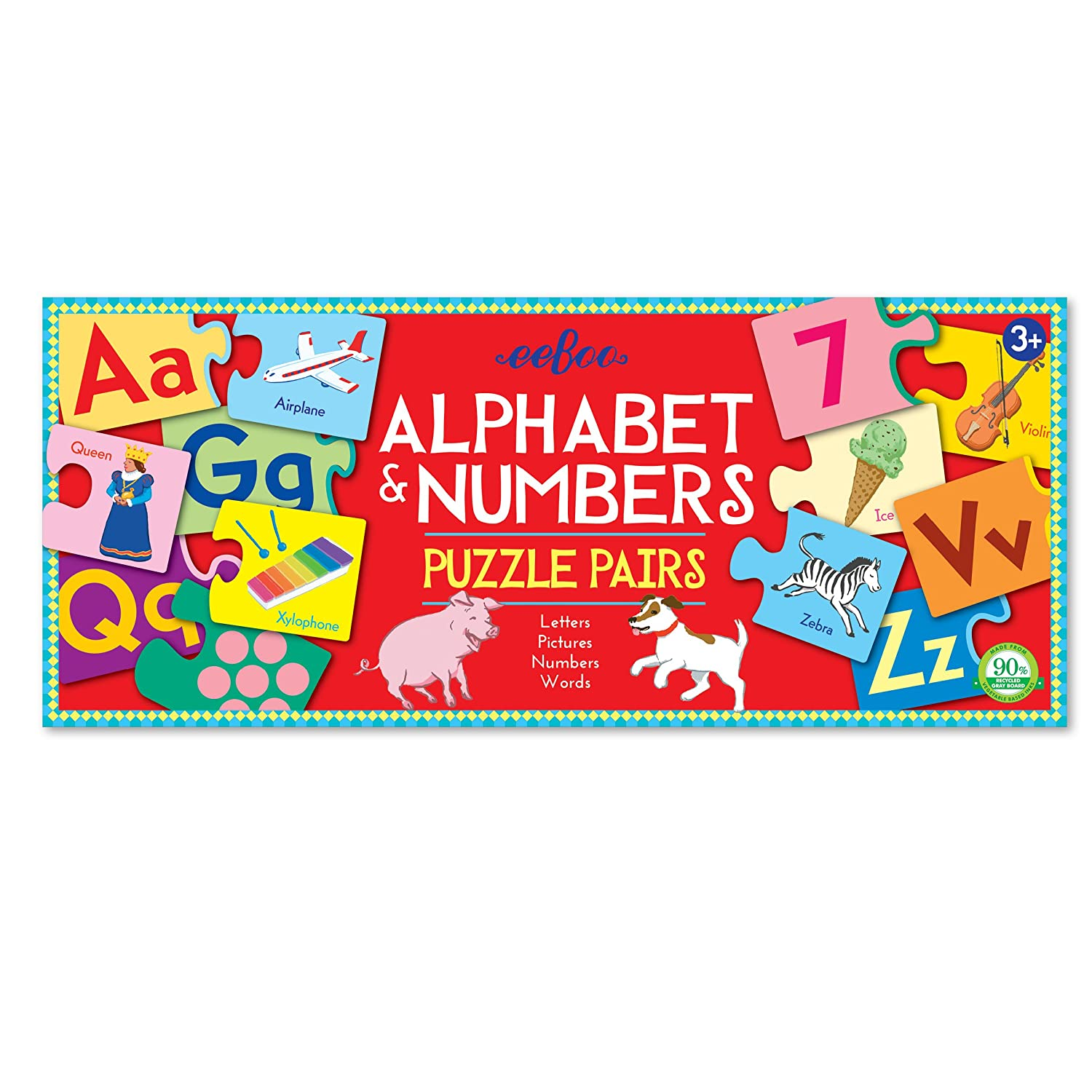 eeBoo Alphabet And Numbers Puzzle Pairs 1 EA PPALP2