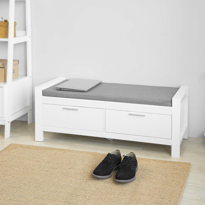 SoBuy FSR200-W Sitzbank mit Stauraum mit 20 Schubladen Bettbank mit  Sitzfläche Garderobenbank