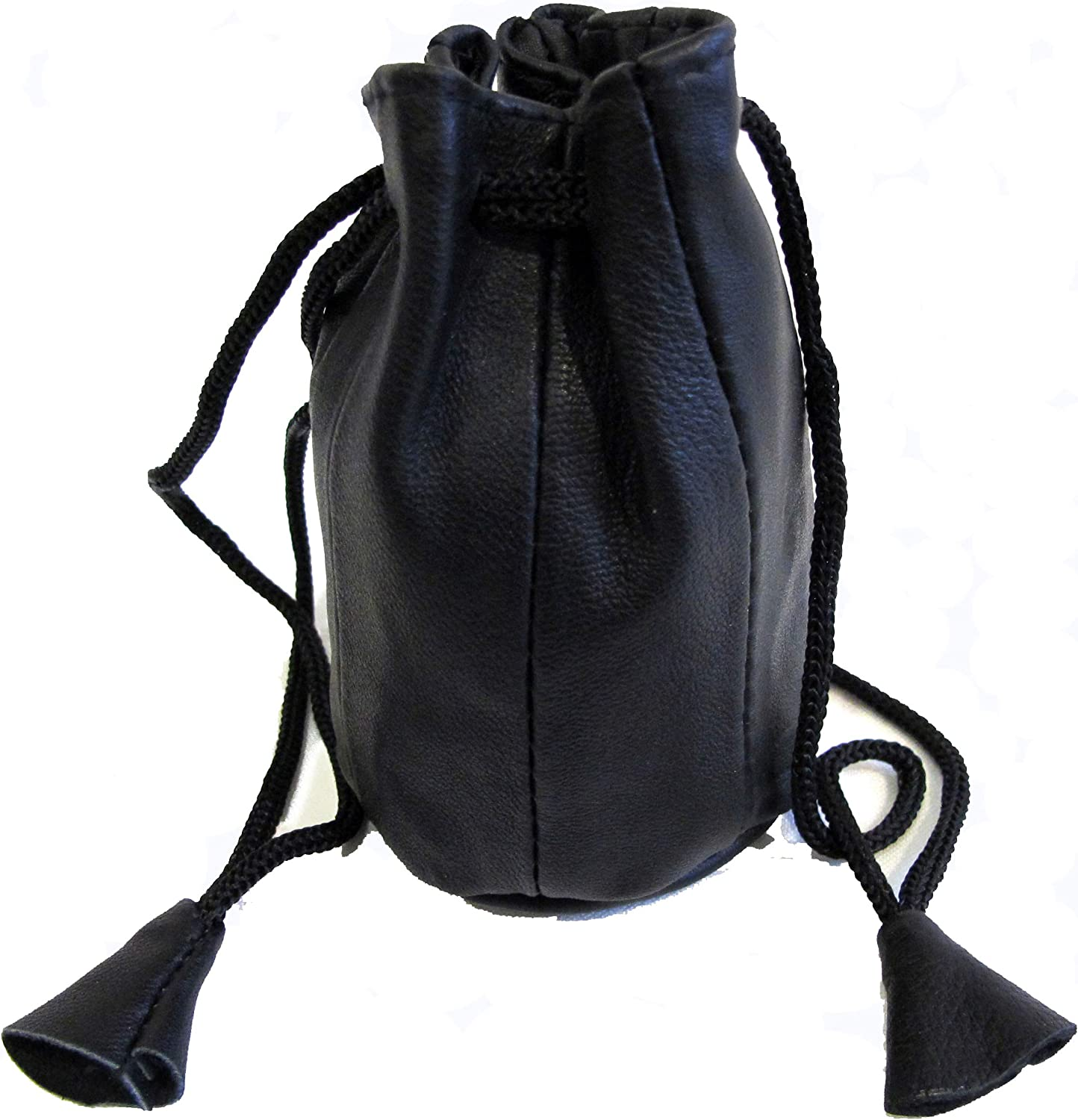 2pc Lot Soft Lambskin Leather Coin Bags Drawstring Closure Black Color $7.99