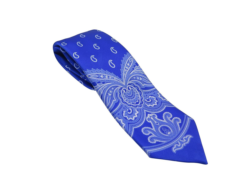 Brioni Italy Mens Blue Paisley Silk Skinny Neck Tie