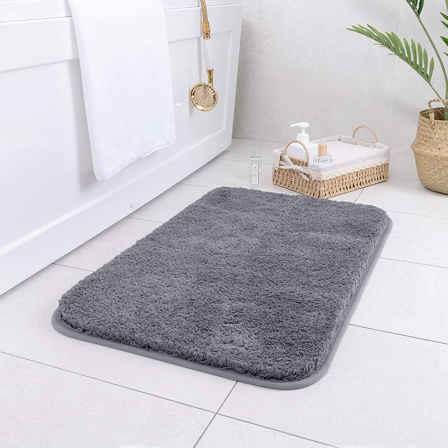Carvapet Non-Slip Bathroom Rug High Water Absorbent Bath Mat Microfiber Soft Plush Shaggy Mat, 16 by 24 inches, Dark Gray
