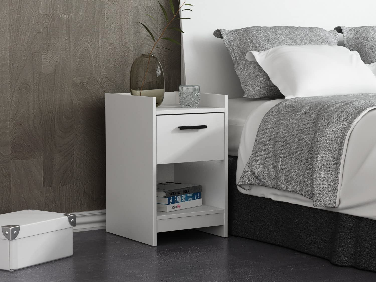 HOMESTAR Central Park Night Stand, 15.98 x 13.7 x 22.44, Frost White