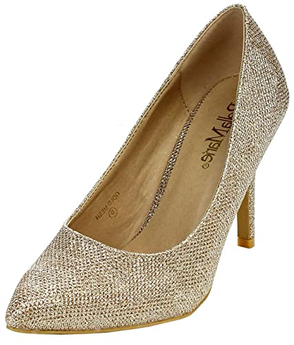 0138f518a9af0 Bella Marie Women s Classic Pointed Toe Glitter Stiletto High Heel Dress  Pump (6 B(
