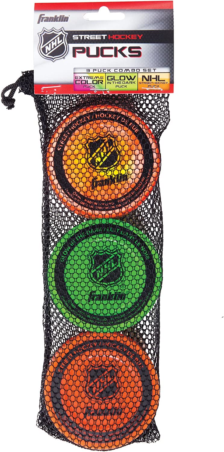 Franklin Sports Street Hockey Pucks - Indoor and Street Hockey Practice Puck - 3-Pucks Assorted Colors : Sports & Outdoors