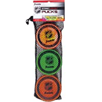 Franklin Sports Street Hockey Pucks - Indoor and Street Hockey Practice Puck - 3-Pucks Assorted Colors