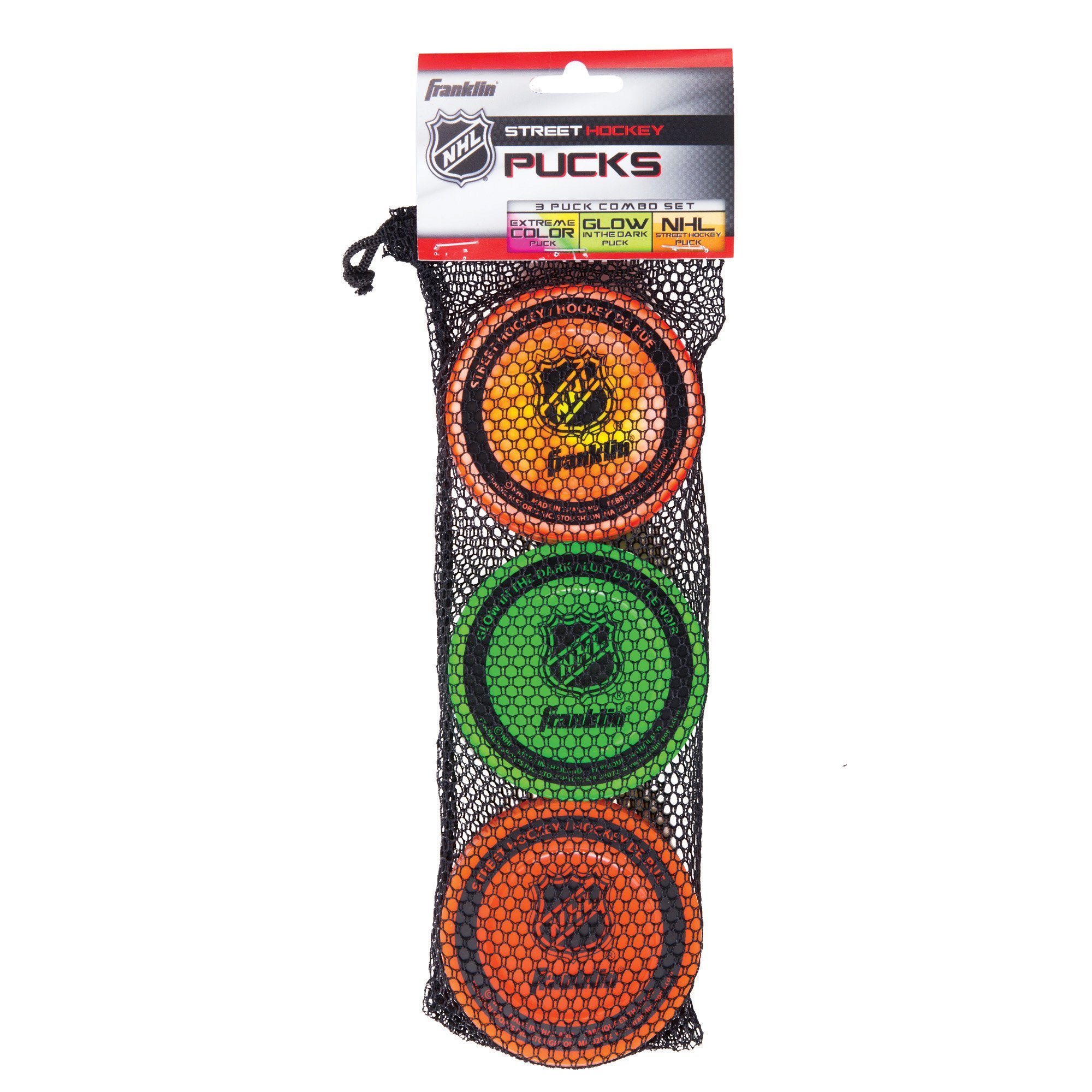 Franklin Sports Street Hockey Puck Combo Set - 3 Pack - Assorted Colors